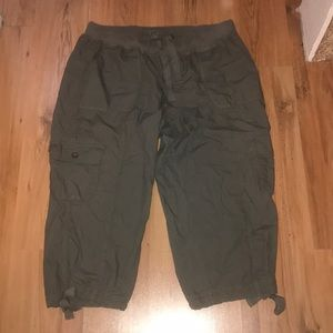 Tie-Waist Cropped Cargo Pants
